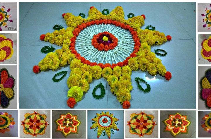 Easy Rangoli Designs With Flowers Petals And flower Shape