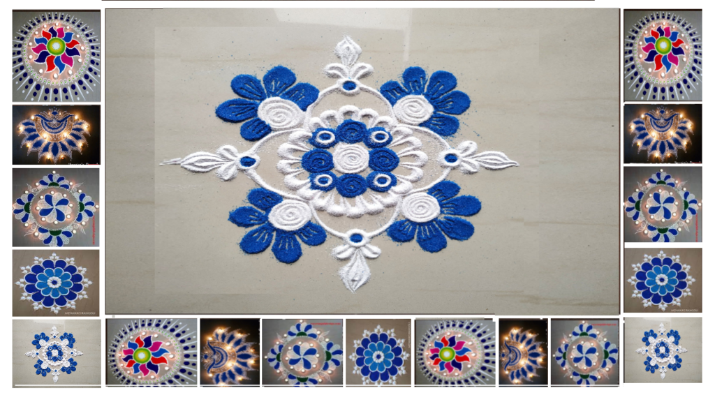 Simple and Attractive Free Hand Rangoli Designs With Colours